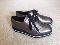 NEW Silver brogue-style shoes, size 5 (Zara)