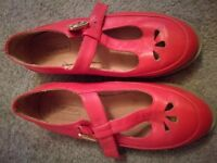Top shop red t-bar shoes size 4