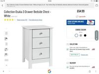 **REDUCED & Brand new** white modern 3 drawer bedside table