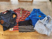Bundle of boys jumpers age 5 labels include Joules, M and S, WhiteStuff, George and Bear Grylls