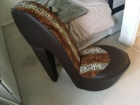 Shoe chair leather leopard print