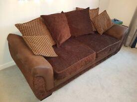 DFS Chocolate Brown Katrina Sofa 3+2 Seater + Footstool