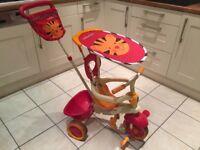 Smart Trike 4-in-1 Ride On Trike (Safari Orange/Red with Tiger)