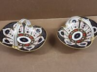 Brand New Royal Crown Derby Old Imari 1128 Heather Basket - PRICE IS EACH - PAIR AVAILABLE -