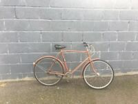 Vintage Raleigh gents town bike 3 speed 22 inch frame 26 inch wheels mud guards front and rear