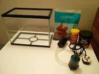 Gold fish tank aquarium, filter and heater starter bundle