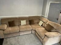 Harveys light brown large fabric corner sofa in very good condition