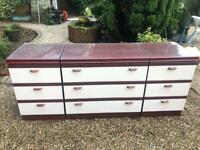 9 DRAWER CHEST OF DRAWERS SET WITH PLATE GLASS TOP