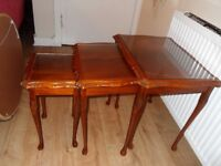NEST OF 3 TABLES WITH GLASS INSERT & QUEEN ANNE LEGS