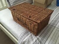 Large wicker basket hamper