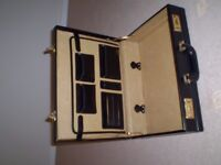 Executive black leather expanding briefcase