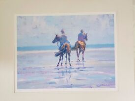 Horses on beach Silkscreen by Jonas