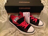 Brand New Child's Double Tongue Converse Black, Pink & Leopard Print