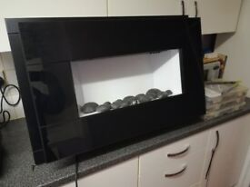 Black Glass Front Electric Fire