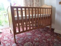 Cot Bed, Mothercare Pine, with nearly new mattress