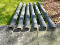 """Metal guttering 6"""", six lengths, 74"""" long plus two corners and fixings"""