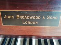 Piano, upright. John Broadwood & Sons. Has candlestick holders! Free piano stool. Good condition