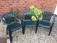 3 sturdy, plastic garden chairs (dark green)