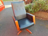 VINTAGE MID CENTURY DESIGN DATED NOV 1969 CAPLAN ALL ORIG DESIGNER SWIVEL RISE FALL CHAIR