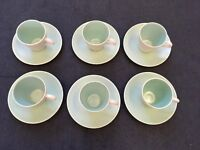 Vintage Poole Pottery Twintone 6 X Cups and Saucers in Seagull Green
