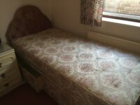 Single Divan Bed with Mattress & Headboard - excellent condition