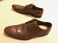 Clarks Mens, Bampton Lace Tan Leather Shoes (Size 8.5)
