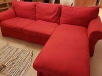 Red ikea corner sofa £130 ono