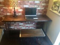 DESK AND BENCH SEAT - SOLID BEECH WOOD - HAIR PIN LEGS - VERY HEAVY - EXCELLENT QUALITY