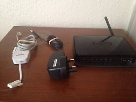 Netgear N150 wireless modem router DGN1000 with wires and splitter!!