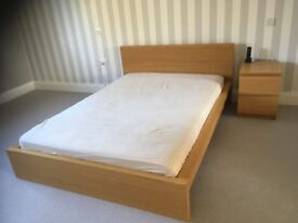 Ikea double bed and side drawer