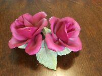 2 x Capodimonte Rose Ornaments .