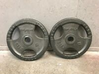 FREE DELIVERY TWO BODYMAX 25KG OLYMPIC CAST IRON WEIGHT PLATES