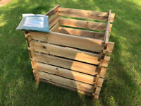 Compost Bin, wooden slated with plastic cover