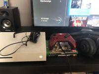 Xbox one 41 games, 2 headsets, gears of war controller