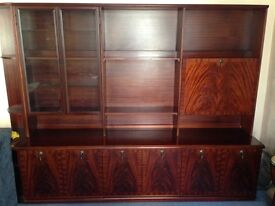 Mahogany display unit with cocktail bar, glass fronted cabinet etc