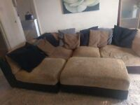 Leather and material corner sofa