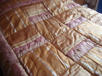 King size quilted bed cover with pillowslips and valance in gold and pink shimmer colour