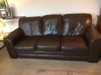 Available Fri 27 Nov: Leather 3 seater couch/sofa