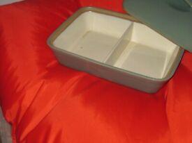 "Denby Manor Green - Serving Dish - 11 x 8"" - Divided - Lidded"
