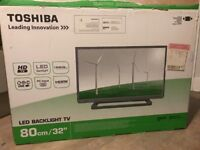 Toshiba 32 LED TV + tower fan with timer + tower floor lamp