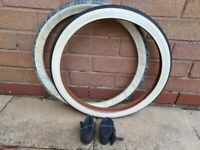 """2 x Bike White Wall Tyres 20"""" x 1.75 (47 x 406) And Tubes"""
