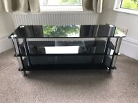 TV Stand, dark glass and chrome, excellent condition - Central Hove