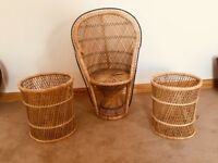 31 inch Peacock Rattan chair&2 Rattan tables/stools for only £30
