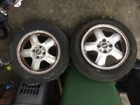 Set of alloy wheels for Mini One with good tyres.