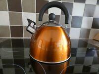 Orange Stove-Top Whistling Kettle