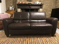 Ikea brown leather 3 seat sofa