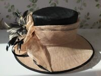 Jacques Vert ladies formal hat black and cream with tags
