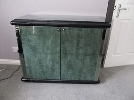 Piano Black Sideboard with feature mirrored strips and diamante handles