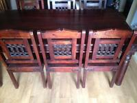 SOLID TABLE & 6x SOLID WOODEN /IRON CHAIRS