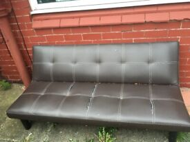 Faux Leather Brown Sofa / Single Bed